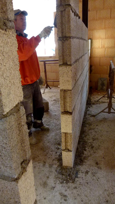 Aufbau Hanfstein Innenwand   /// construction of a hemp brick wall | Innenwand brick wall